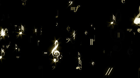 Music Notes - Golden Stream - Transparent Loop Animation