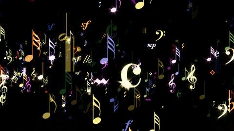 Music Notes - Rainbow Stream - Transparent Loop Stock Video Footage