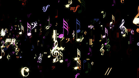 Music Notes - Rainbow Stream - Transparent Loop Animation
