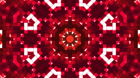 Broadcast Firey Light Hi-Tech Squares Kaleidoscope, Red, Abstract, Loopable, 4K Animation