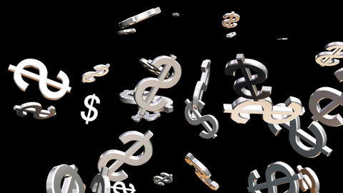 Broadcast Money Shower, Grayscale, Corporate, Alpha Matte, Loopable, 4K Animation