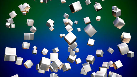 Broadcast Falling Hi-Tech Cubes, Green Blue, Multi Color, Corporate, Loopable, Animation