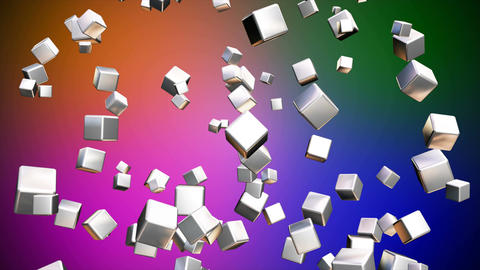 Broadcast Falling Hi-Tech Cubes, Multi Color, Corporate, Loopable, 4K Animation