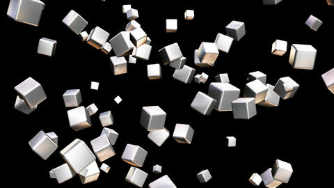 Broadcast Falling Hi-Tech Cubes, Grayscale, Corporate, Alpha Matte, Loopable, 4K Animation