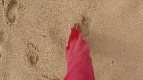walking feet step by step on sand beach Live Action