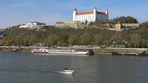 Stary Hrad - ancient castle in Bratislava. Bratislava is occupying both banks of Footage