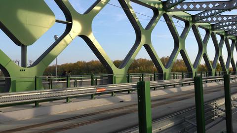 Tram driving through the bridge in Bratislava Footage