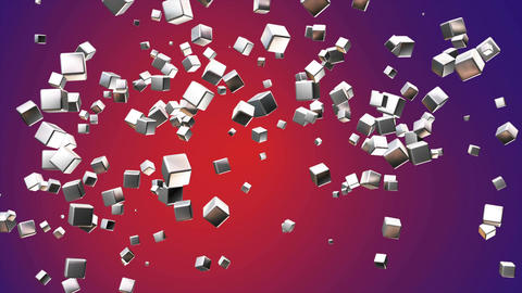 Broadcast Flying Hi-Tech Cubes, Purple Red, Corporate, Loopable, 4K Animation