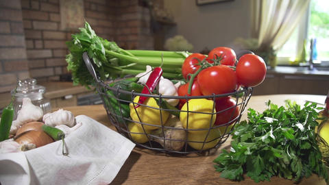 Still life with basket full of fresh vegetables, vegetarian food, cooking Footage