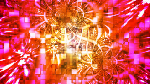 Twinkling Abstract Hi-Tech Light Patterns, Red Yellow, Loopable, 4K CG動画素材