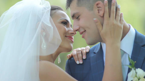beautiful newlyweds gently embrace. young couple in love . tenderness love Bild