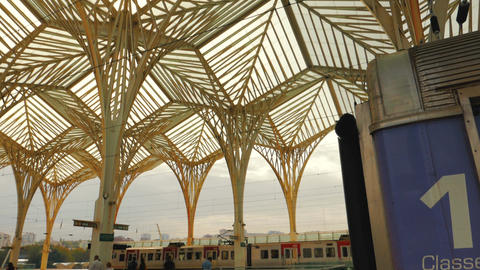 Gare do Oriente train station, Lisbon, Portugal Footage