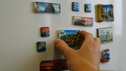 A new fridge magnet from the last vacation, travel concept 画像