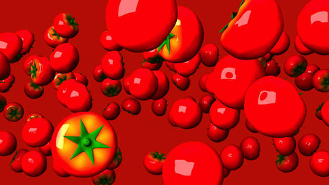 Tomatoes On Red Background CG動画
