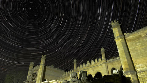 Star Trails Over Scenic Abandoned Ruin of Building Filmmaterial