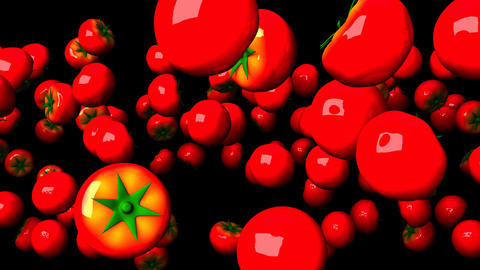 Tomatoes On Black Background Animation
