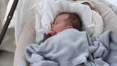 baby sleeping in cradle Footage