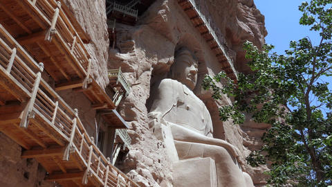 Bingling Temple With Buddhist Sculpture Carved Into Cave In China Footage