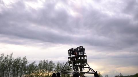 Flame on burner of air balloon. Preparing for ballooning. Handheld shot Footage