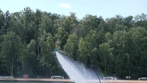 Hydroflight on flyboard above the water Footage