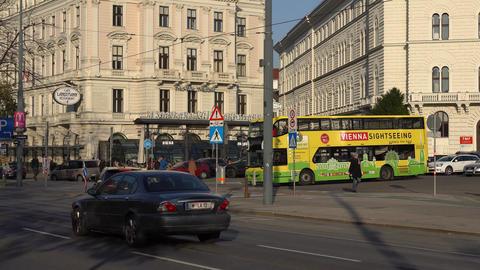 Vienna, Austria - November 2017: Tourists bus in Vienna. Vienna Wien is the Footage