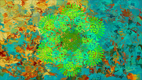 Pattern in Indian style with changing colors rotates on abstract background Animation