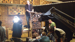 film production - behind scenes - crane - puppet theatre Footage