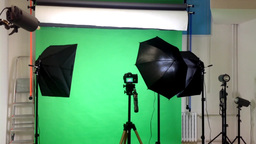 Film Production - Behind Scenes - Lighting - Green Screen Studio stock footage