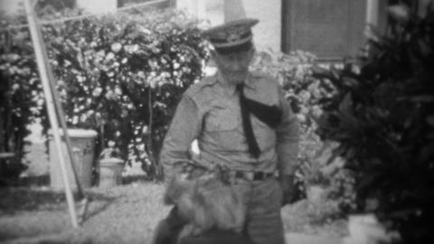 1943: Retired World War 1 Veteran Denied Holding Grand Daughters Hand stock footage
