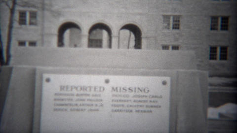 1943: World war 2 reported missing sign outside community civic center building Footage