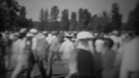 1938: Professional Golf Tournament Crowd Walking On 18th Fairway stock footage