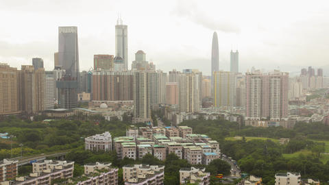 Shenzhen city downtown landmark time-lapse,China Footage