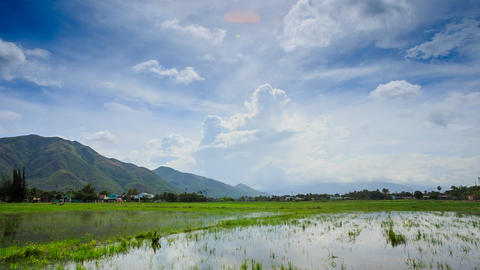 Panorama of Cloudy Sky over Rice Field in Water Hills Village Live Action