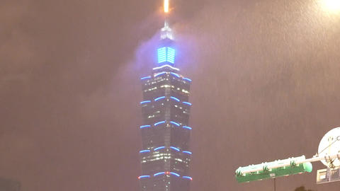 Motion of Taipei 101 with heavy rain during at night. Taipei 101 is the tallest Footage