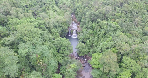 Cinema intro Aerial big forest Travel Thailand waterfall in forest koh kood Footage