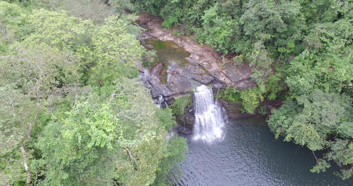 travel koh kood island water flowing from aerial waterfall in forest ビデオ