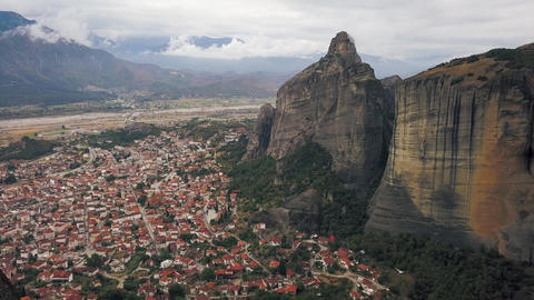 Aerial survey of Kalambaka town and Meteora Footage