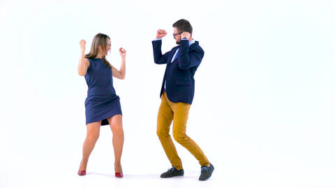 Professional business people having fun like crazy in studio Footage