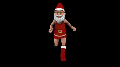 Jogging Santa Claus - Front View - Transparent Loop CG動画素材