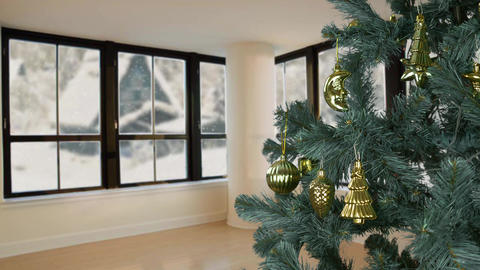 House living room eve Christmas celebrate. Christmas holiday eve. Green fir tree Archivo