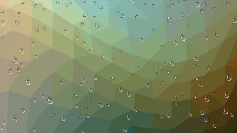 Rain drops running down the glass, polygonal abstract animated background in Animation