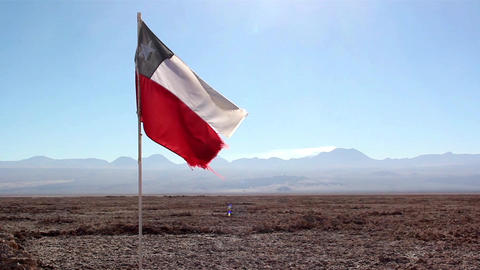 Chile flag in the Atacama Desert Footage