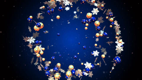 Abstract christmas and new year romantic background with flying xmas balls Animation