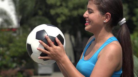Female Holding Soccer Ball Live Action