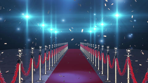 Flight on the red carpet with flying confetti Image