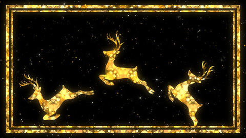 Christmas background with bokeh lights in the rotation reindeer Animation