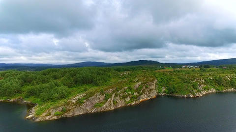 Aerial view of the landscape of Norway GIF