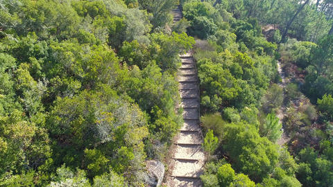 Aerial View on the Steps Leading to a Steep Hill Footage
