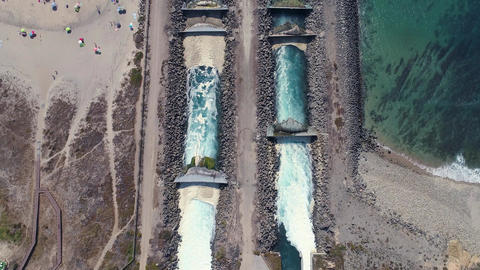 Aerial View of Channels for Discharge Hot Water Live Action