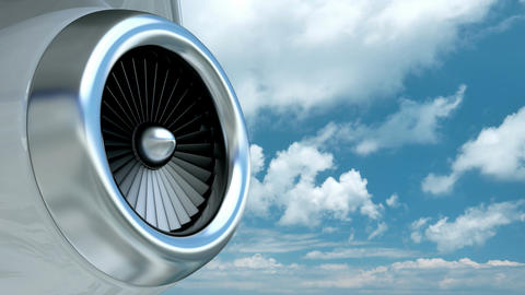 Business jet plane turbine against the blue cloudy sky Animation